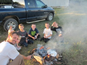 Campfire, hot-dogs and smores with my long-time friend Daniel Milligan and his  daughter, Maggie, and son, Reese.